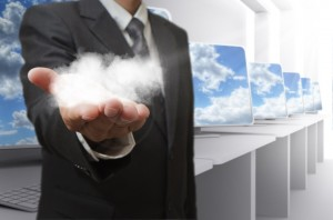 Man accessing the cloud