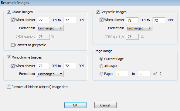 Infix PDF Editor Resample Images Dialog
