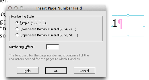 Infix Insert Page Number Dialog