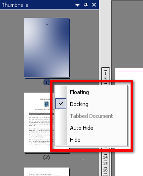 Right Click menu for thumbnail pane